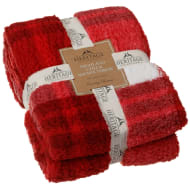 Highland Check Sherpa Throw - Red
