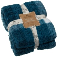 Highland Check Sherpa Throw - Teal