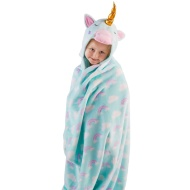 3D Hooded Unicorn Blanket - Mint