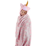3D Hooded Unicorn Blanket - Pink