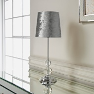 Luxe Crystal Velvet Table Lamp - Silver