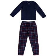 Mens Fleece Pyjamas - Check