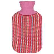 Knitted Hot Water Bottle 2L - Pink Stripes