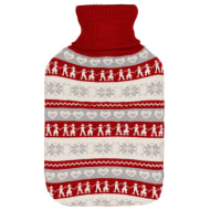 Knitted Hot Water Bottle 2L - Red & White