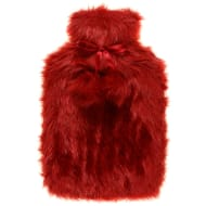 Deluxe Fur Hot Water Bottle - Red