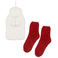Fluffy Hot Water Bottle & Socks Set - Cream & Red