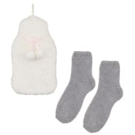 Fluffy Hot Water Bottle & Socks Set - Cream & Grey