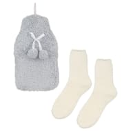 Fluffy Hot Water Bottle & Socks Set - Grey & Cream