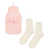 Fluffy Hot Water Bottle & Socks Set - Pink & Cream