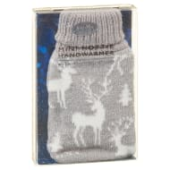 Reusable Mini Hottie Knitted Hand Warmer - Grey Reindeer