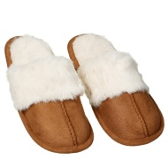 Ladies Cuff Mule Slipper - Brown