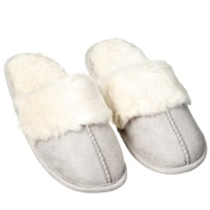Ladies Cuff Mule Slipper - Cream