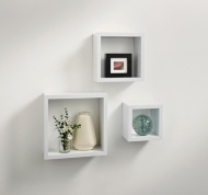 Norsk Hi-Gloss Cube Shelves 3pc - White