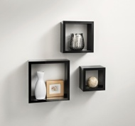Norsk Hi-Gloss Cube Shelves 3pc - Black