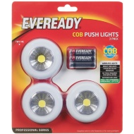 Eveready Cob Push Lights 3pk