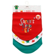 Christmas Baby Dribble Bibs 3pk - Santa's Little Elf