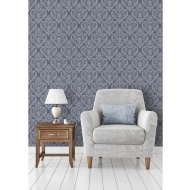 Calico Damask Wallpaper - Blue
