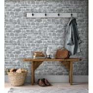 Broken Brick Wallpaper - Grey