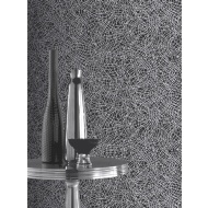 Foil Swirl Wallpaper - Black & Silver
