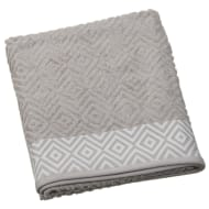 Diamond Sculptured Bath Sheet - Pebble & White
