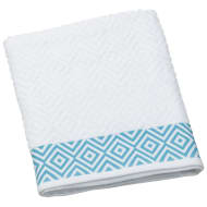 Diamond Sculptured Bath Sheet - White & Aqua