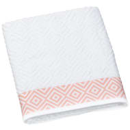 Diamond Sculptured Bath Sheet - White & Coral
