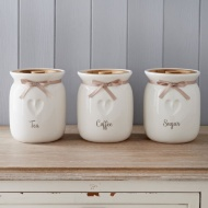 Kitchen Canisters with Wooden Lid - Heart