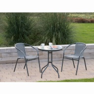 Sorrento Rattan Effect Bistro Set 3pc