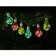 Coloured Solar Bulb String Lights 10pk