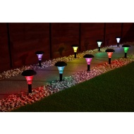 Solar Powered Stake Lights 9pk - Colour Changing
