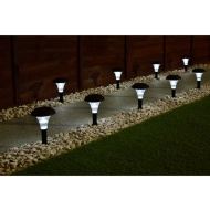 Solar Powered Stake Lights 9pk - White