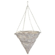 Grey Rattan Pyramid Hanging Basket