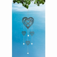 Metal Wind Spinner & Hanging Crystals - Heart & Butterfly