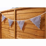 12 Flag Garden Bunting - Blue & White Stripe