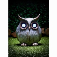 Stone Effect Owl with Crystal Light Eyes