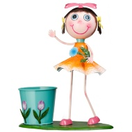 Dancing Kid with Plant Pot - Orange