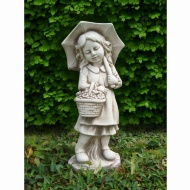 Girl with Umbrella Garden Statue