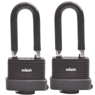 Long Shackle Weatherproof Padlock 50mm 2pk - Black
