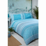 Cuba Piped Double Duvet Set - Duck Egg
