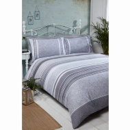 Cuba Piped Double Duvet Set - Grey