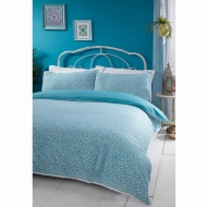 Boho Piped Double Duvet Set - Teal