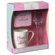 Mug, Coaster & Prosecco Glass Gift Set - One in a Million