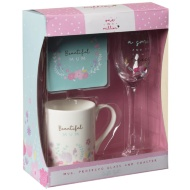 Mug, Coaster & Prosecco Glass Gift Set - Beautiful Mum