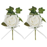 White Rose Buttonholes 2pk