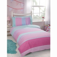Kids Single Duvet Twin Pack - Hearts & Stripes