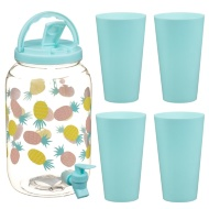 Drinks Dispenser & Tumblers Set 3.6L - Pineapple