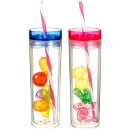 Plastic Cup with Straw & Ice Cubes