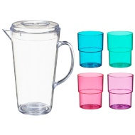 Drinks Pitcher & 4 Stackable Cups