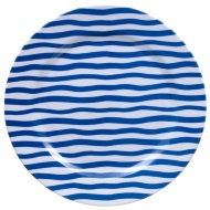 Round Printed Dinner Plate - Navy Stripes