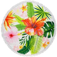 Round Beach Towel with Fringing - Tropical